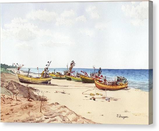 Fischerbootsanlegestelle Auf Der Ostsee Canvas Print