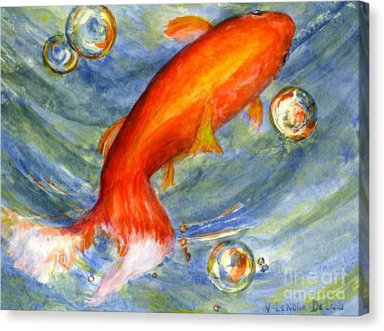 Fish And Bubbles From Watercolor Canvas Print