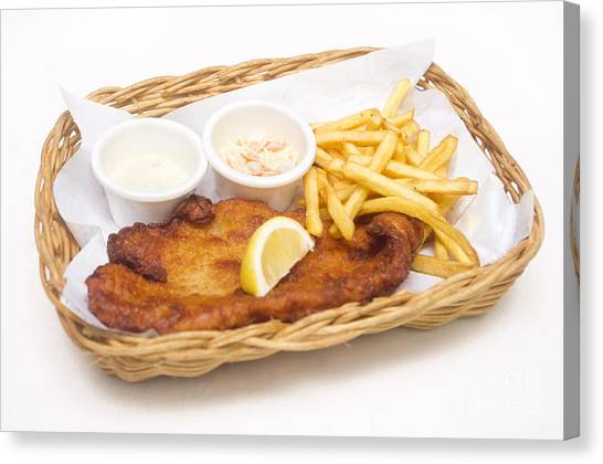 Mayonnaise Canvas Print - Fish And Chips by Tuimages