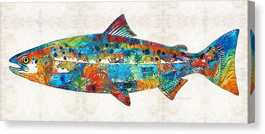 Fly Fishing Canvas Print - Fish Art Print - Colorful Salmon - By Sharon Cummings by Sharon Cummings
