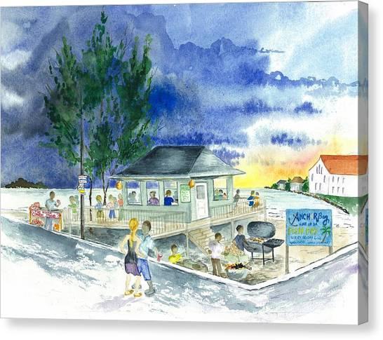 Eleuthera Art Canvas Print - Fish Fry At Governors Harbor by Maria McBride