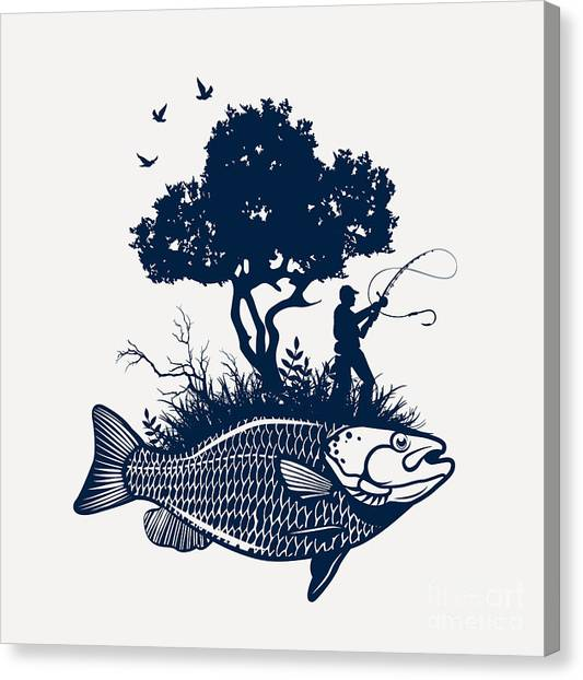 Fish Island With Fisherman And Tree Canvas Print by Moloko88