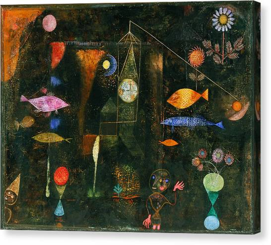 Canvas Print featuring the painting Fish Magic by Paul Klee