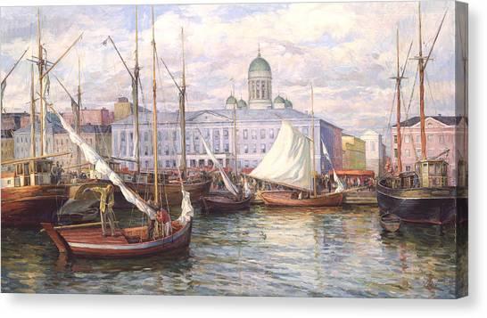 Fish Market In Helsinki Canvas Print
