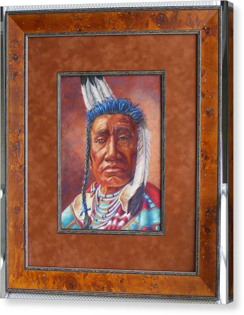 showing the frame on Fish Shows Native Am. Indian Canvas Print