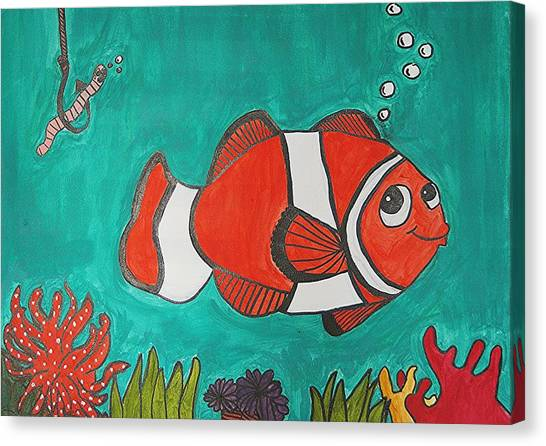Fish Smiling At Lunch Canvas Print by Fred Hanna
