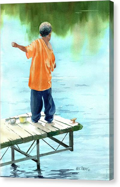 Fishing Poles Canvas Print - Fish Story by Kris Parins
