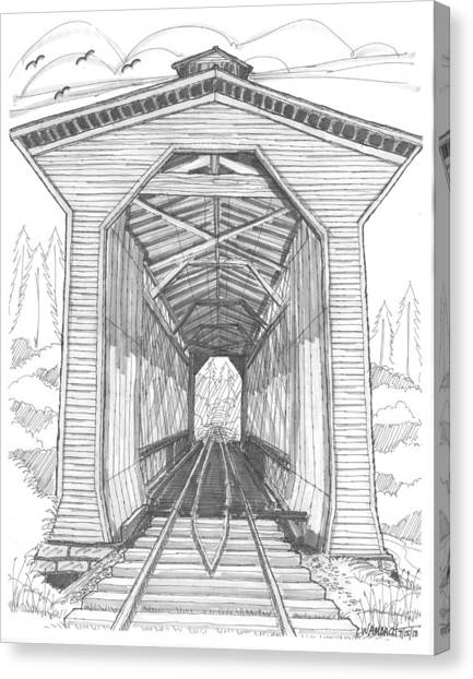 Fisher Railroad Covered Bridge Canvas Print