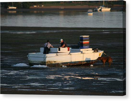 Fishermen And Dog Canvas Print