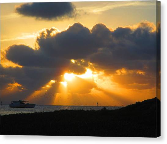 Sunset Horizon Canvas Print - Fisherman by Capt  Pat  Moran