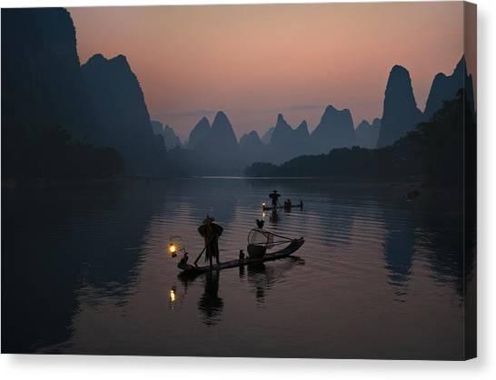 China Canvas Print - Fisherman Of The Li River by Mieke Suharini