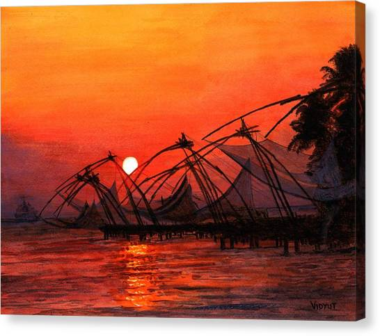 Giclee On Canvas Print - Fisherman Sunset In Kerala-india by Vidyut Singhal