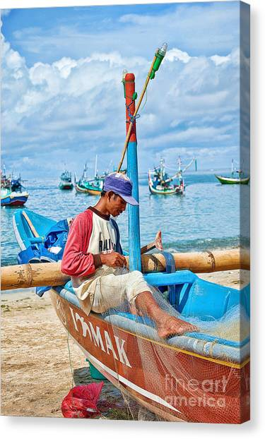 Canvas Print featuring the photograph Fisherman by Yew Kwang