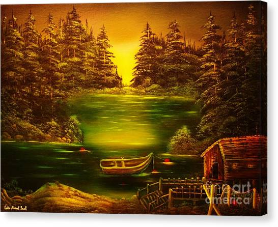 Fishermans Cabin-original Sold- Buy Giclee Print Nr 32 Of Limited Edition Of 40 Prints  Canvas Print by Eddie Michael Beck