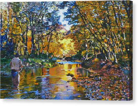 Fly Fishing Canvas Print - Fisherman's Dream by Kenneth Young
