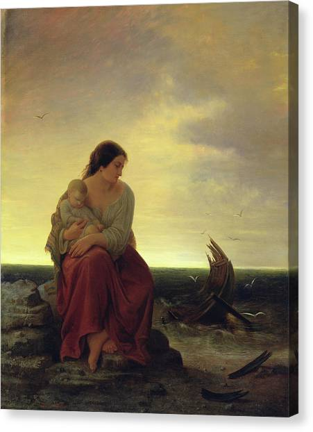Drown Canvas Print - Fishermans Wife Mourning On The Beach Oil On Canvas by Julius Muhr
