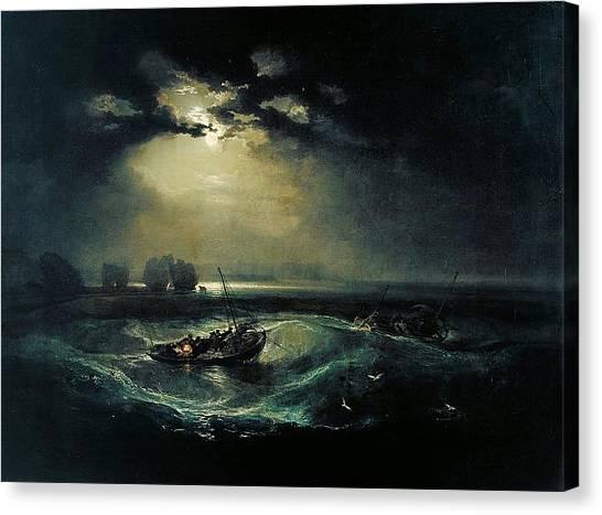 Romanticism Canvas Print - Fishermen At Sea 1796  by J M W Turner