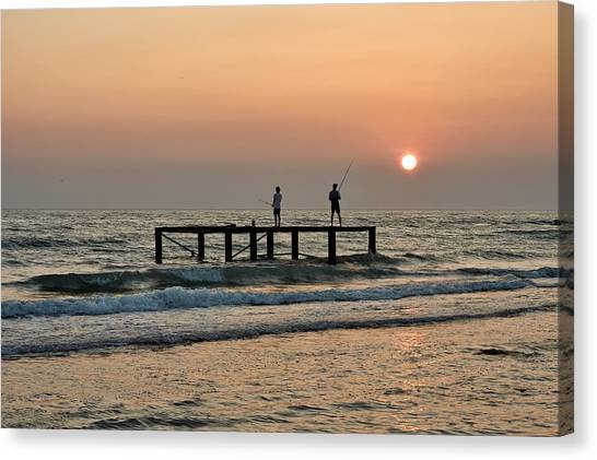Fishermen At Sunset. Canvas Print by Alexandr  Malyshev