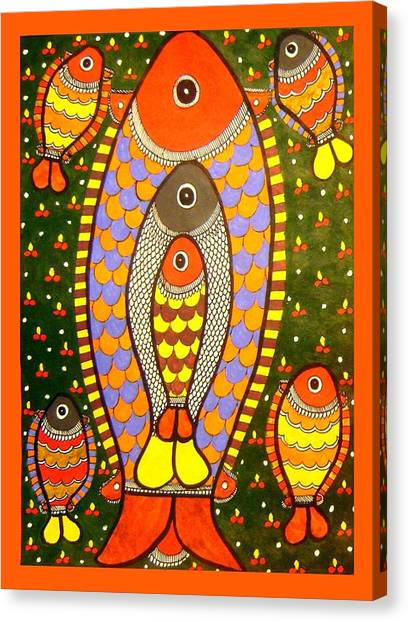 Fishes-madhubani Painting Canvas Print