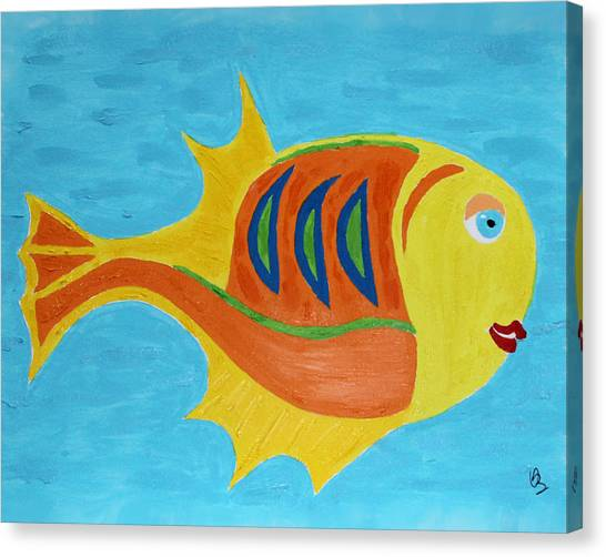 Canvas Print featuring the mixed media Fishie by Deborah Boyd