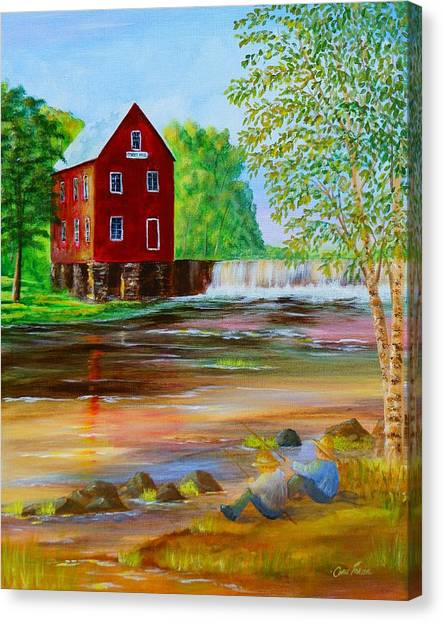 Fishin' At The Old Mill Canvas Print