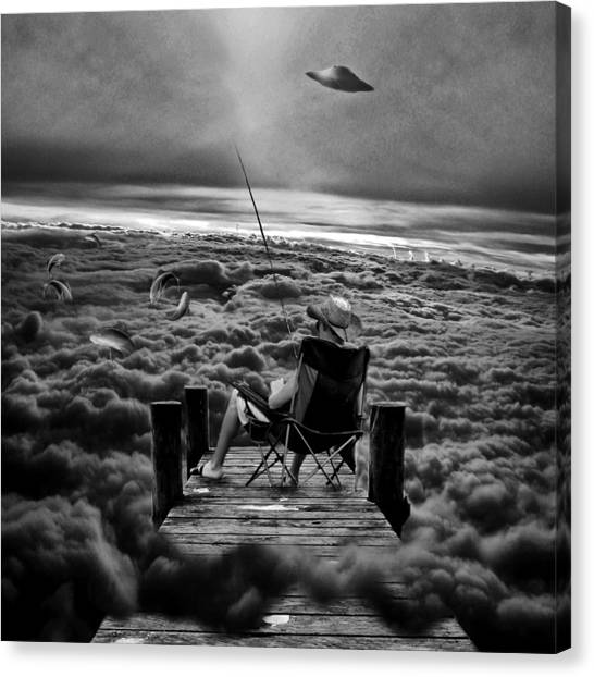 Pontoon Canvas Print - Fishing Above The Clouds Grayscale by Marian Voicu