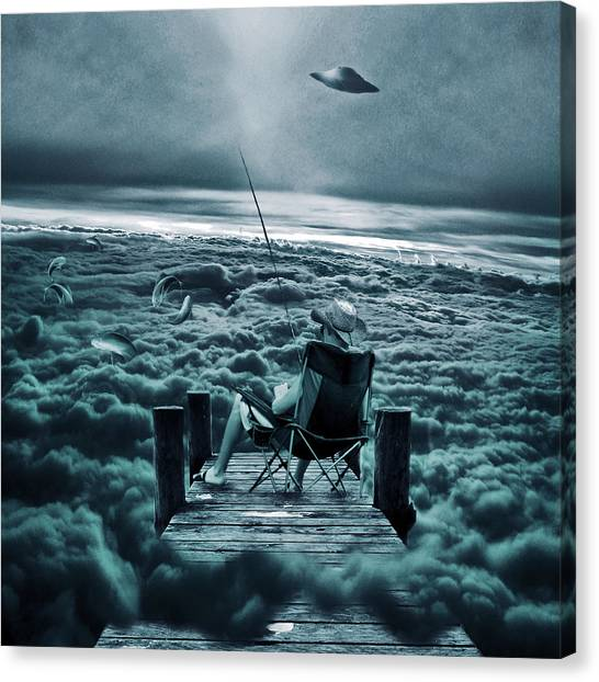 Fishing Above The Clouds Canvas Print