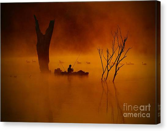 Fishing Among Nature Canvas Print