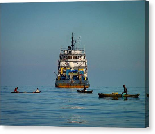 Fishing Around The Art Carlson On Anchor Canvas Print
