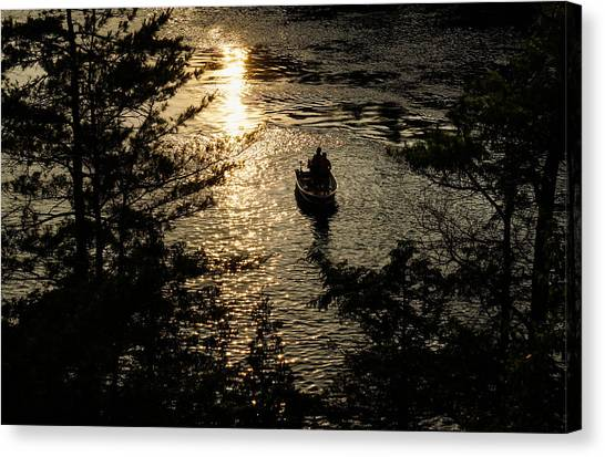Fishing At Sunset - Thousand Islands Saint Lawrence River Canvas Print