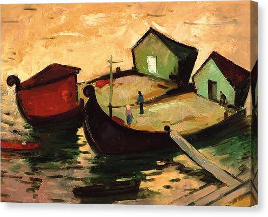 Budapest Canvas Print - Fishing Barges On The River Sugovica by Emil Parrag
