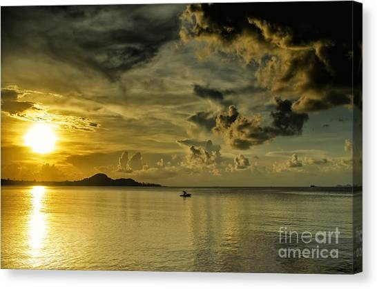 Fishing Before Dark Canvas Print