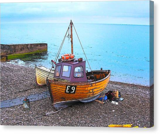 Beach Holiday Canvas Print - Fishing Boat At Beer Bay Devon by Jan Matson