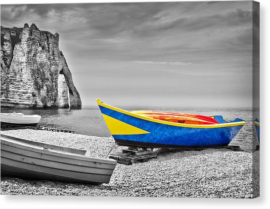 Etretat Canvas Print - Fishing Boat At Etretat by Delphimages Photo Creations