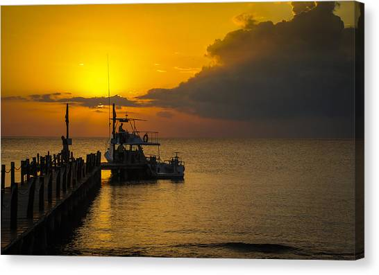 Fishing Boat At Sunset Canvas Print