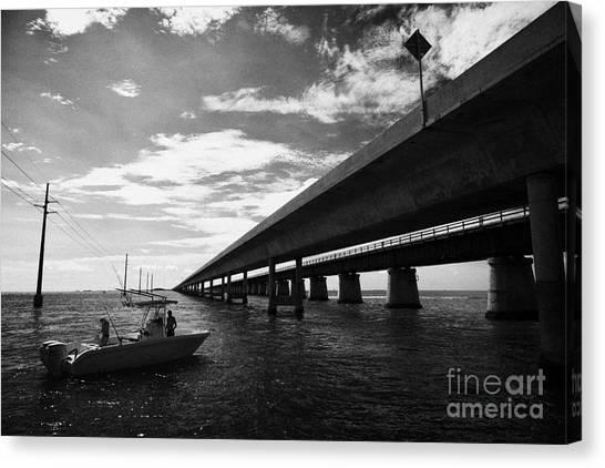 Fishing Boat Beneath New Seven Mile Bridge In Marathon In The Florida Keys Canvas Print by Joe Fox