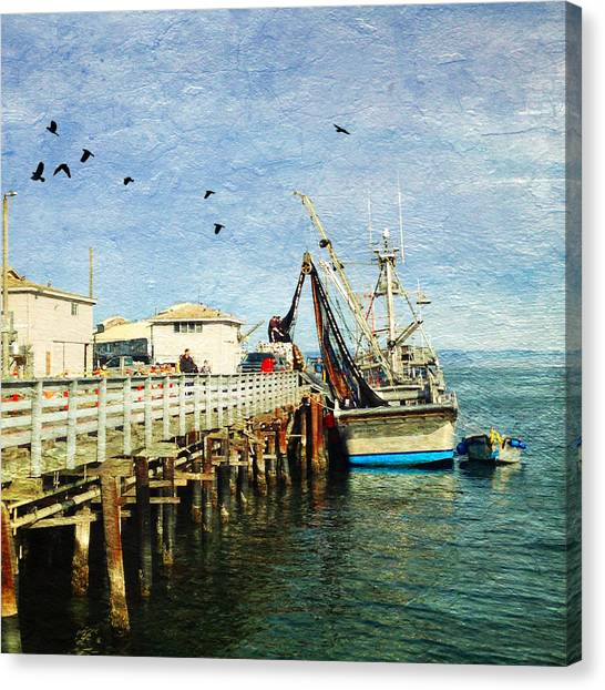 Fishing Boats Canvas Print - Fishing Boat In Monterey by Charlene Mitchell