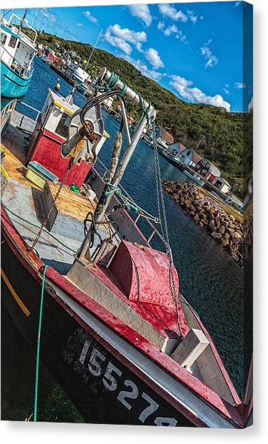 Canvas Print featuring the photograph Fishing Boat In Petty Harbour by Perla Copernik