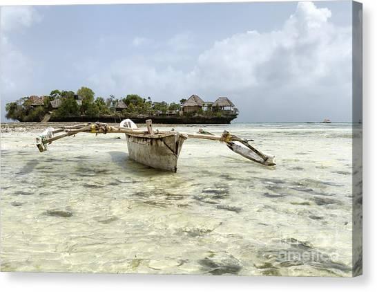 Fishing Boat In Zanzibar Canvas Print by Pier Giorgio Mariani