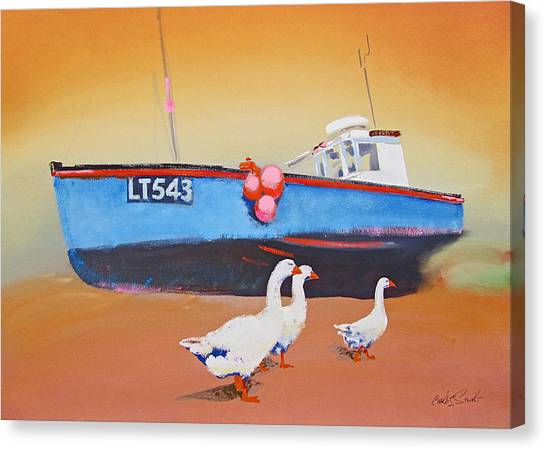Fishing Boat Walberswick With Geese Canvas Print