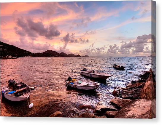 Fishing Boats At A Firey Sunset Canvas Print by Anya Brewley Schultheiss