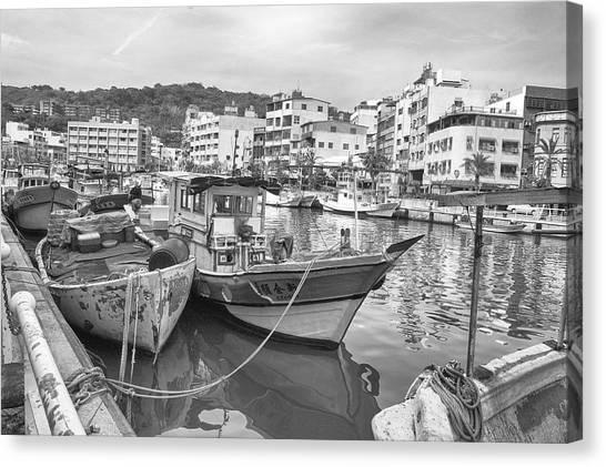 Fishing Boats B W Canvas Print