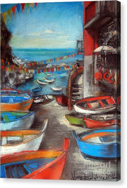 Fishing Boats Canvas Print - Fishing Boats In Riomaggiore by Mona Edulesco