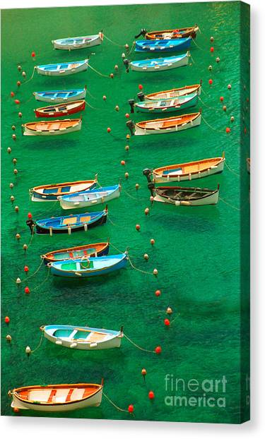 Fishing Boats In Vernazza Canvas Print