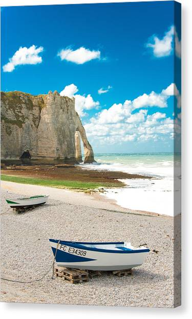 Etretat Canvas Print - Fishing Boats On The Beach At Etretat by Loriental Photography