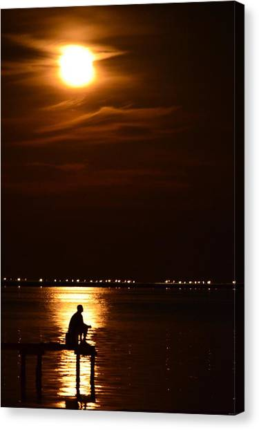 Fishing By Moonlight01 Canvas Print