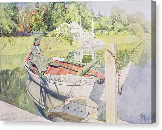 Angling Canvas Print - Fishing by Carl Larsson