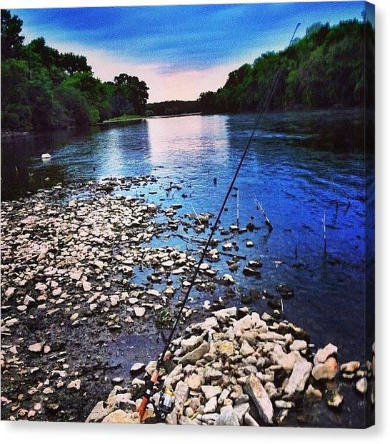 Fishing Poles Canvas Print - #fishing #fish #poles #river #rocks by Michael Becht