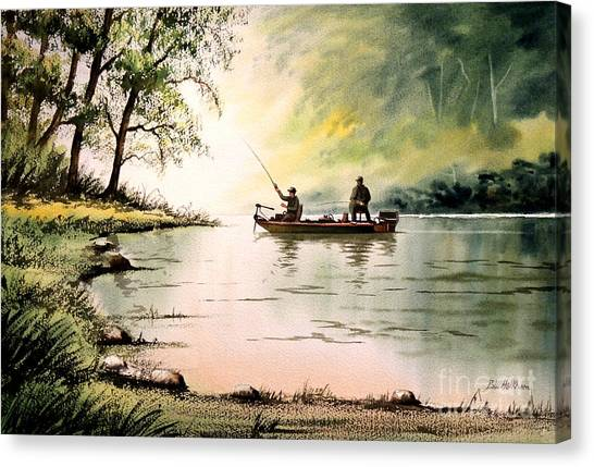 Bass Fishing Canvas Print - Fishing For Bass - Greenbrier River by Bill Holkham