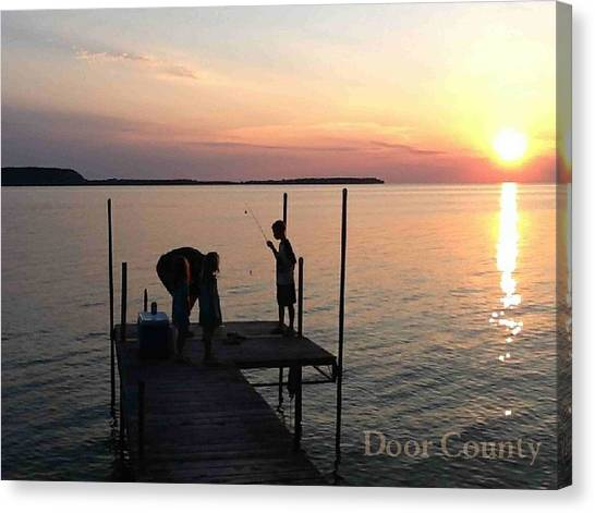 Fishing From The Dock In The Sunset Canvas Print